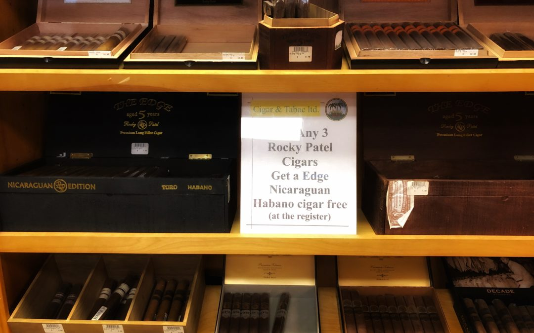 Buy any three Rocky Patel cigars get a free Rocky Patel Edge Nicaraguan Habano
